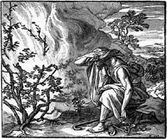 Moses bowing down to the burning bush of the solar Yahweh.