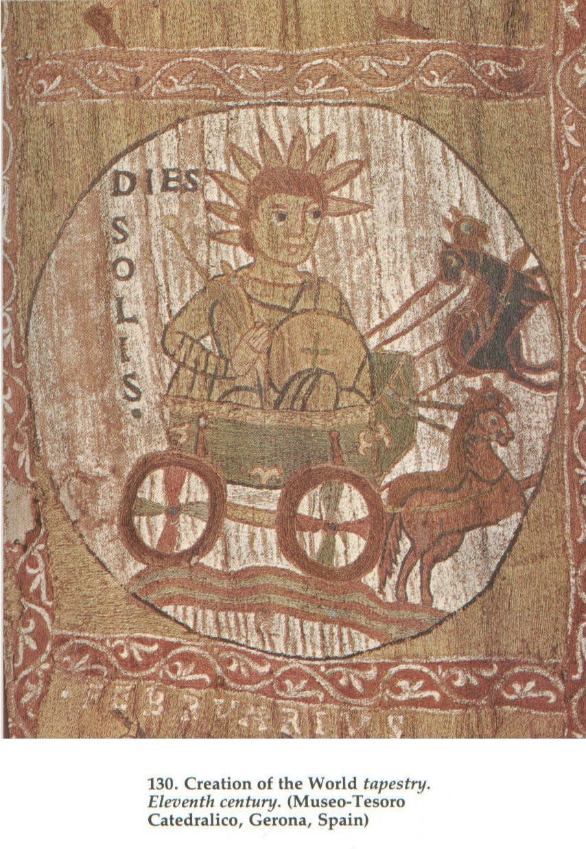 God as the Sun 11th cent. Italian tapestry
