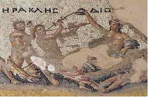Greek gods Herakles and Dionysus on a mosaic floor at Sepphoris, Israel (3rd-4th cents. CE/AD)