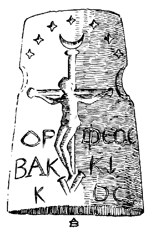 The Orpheos Bakkikos gemstone (Line drawing by A. Becker)
