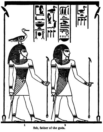 Egyptian god Seb, Geb or Keb with goose on his head
